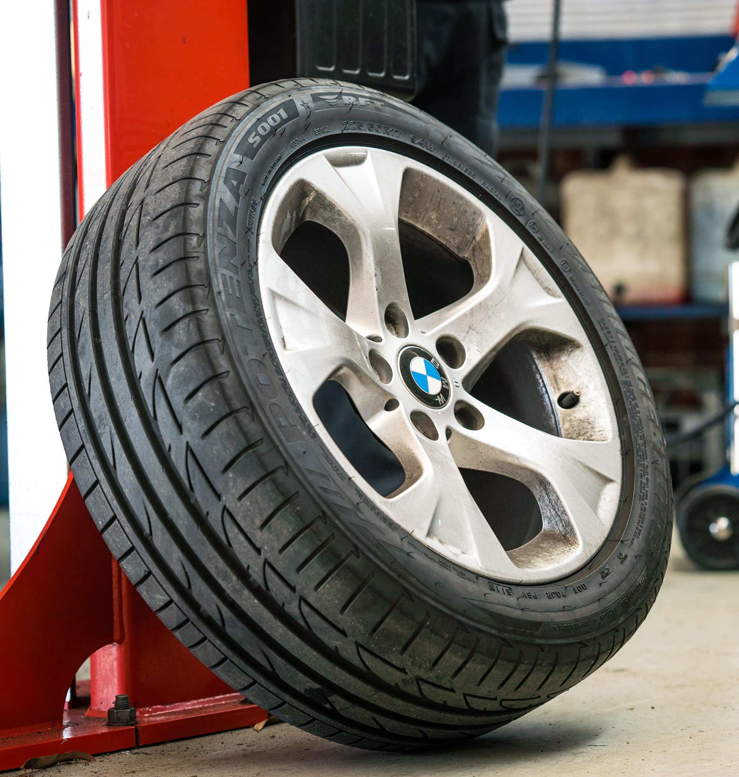 bmw tyre in mechanical workshop perth