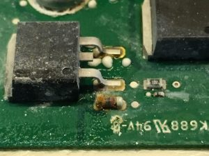 Water damaged ECU close up