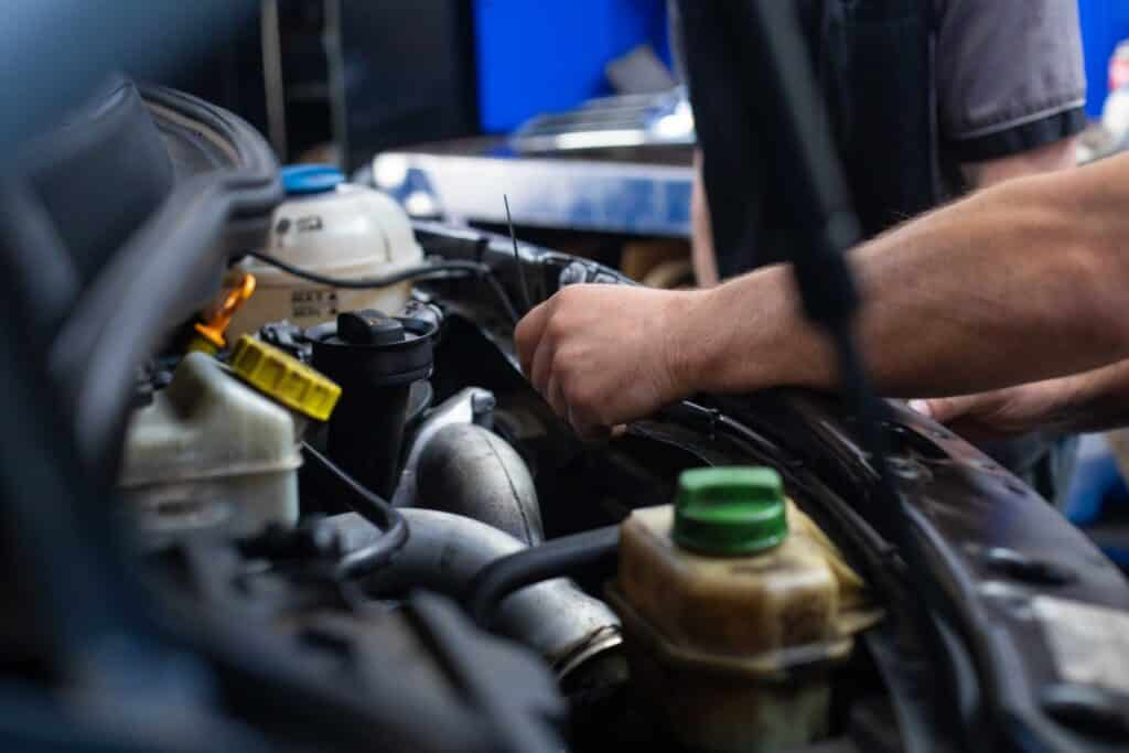 BMW engine being serviced